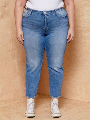 Warp + Weft High Rise Straight Light Denim