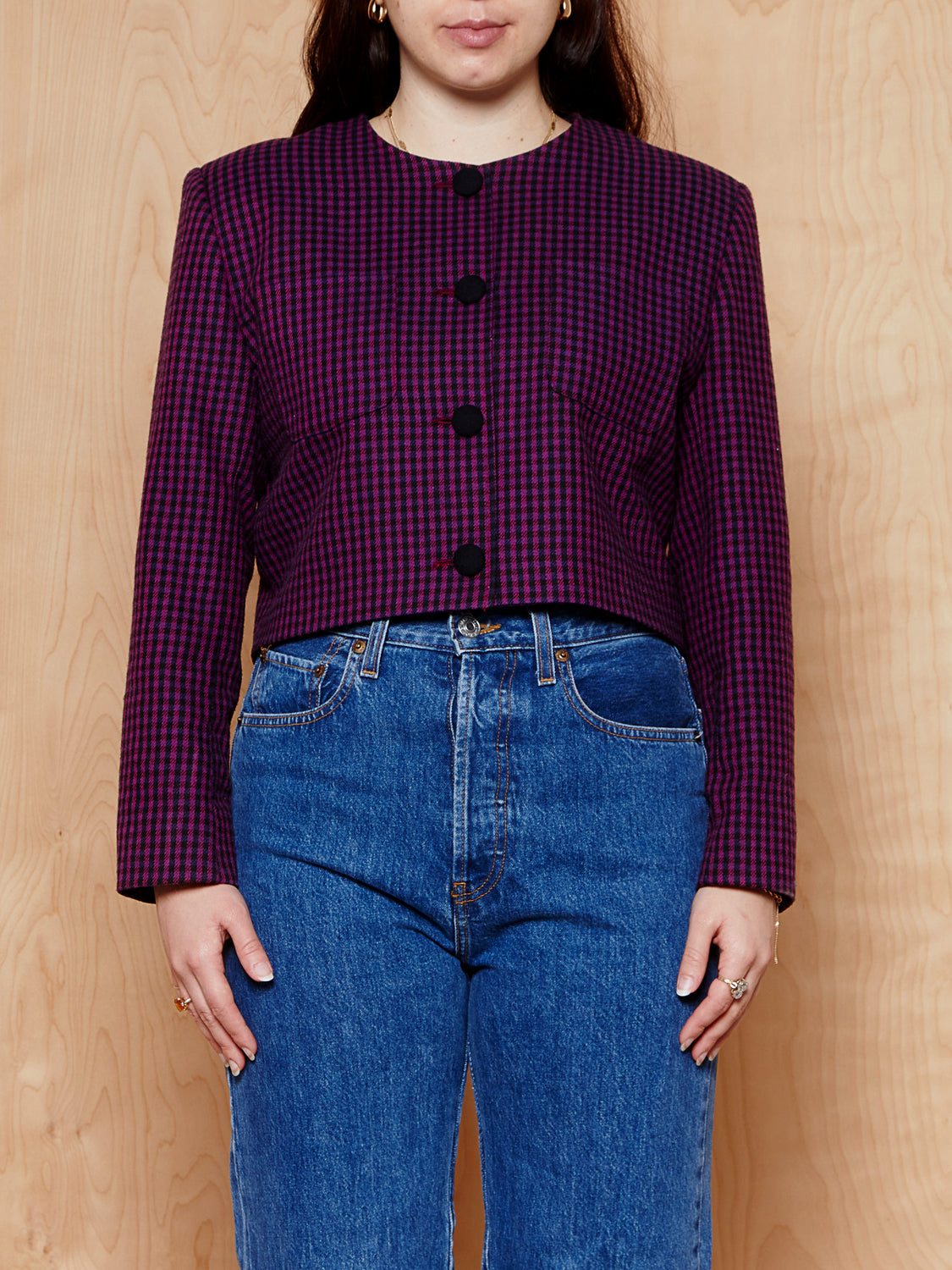 Vintage Ann Taylor Purple Houndstooth Jacket