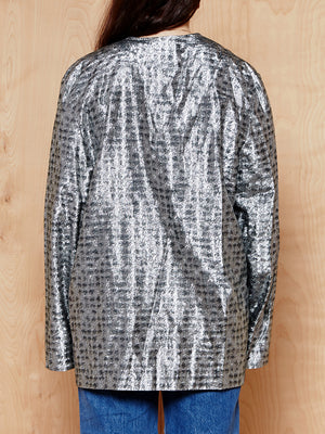 Vintage Metallic Houndstooth Overshirt