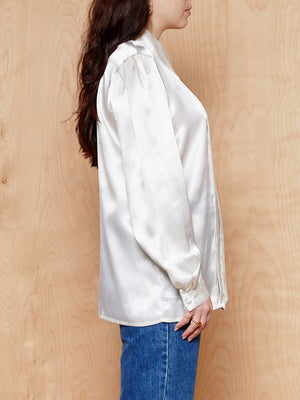 Vintage Silk-Look Ivory Blouse
