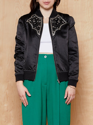 Understated Leather Silk Studded Bomber Jacket