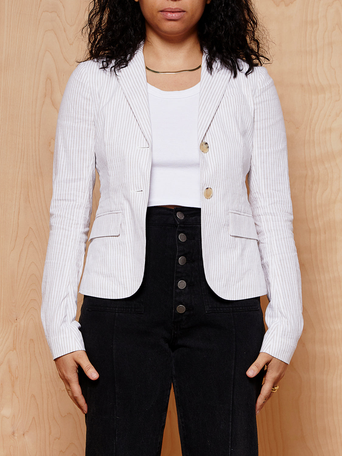 Theory Beige Striped Blazer