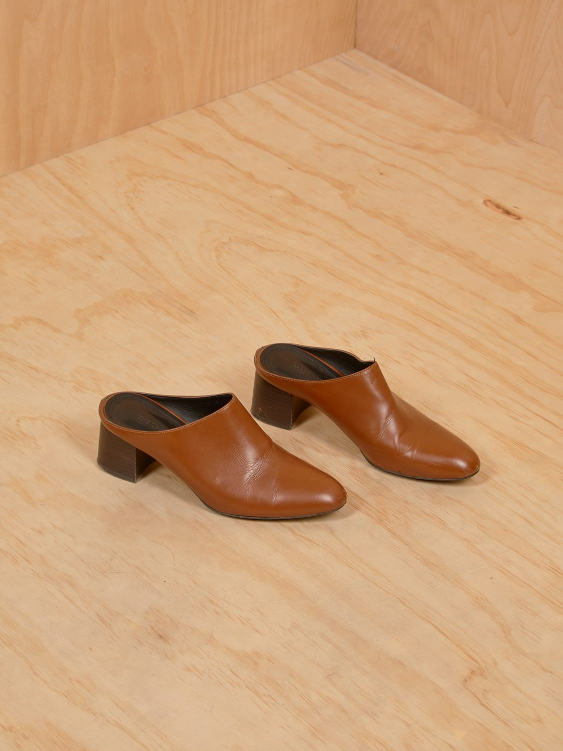 Brown Leather Heeled Mule