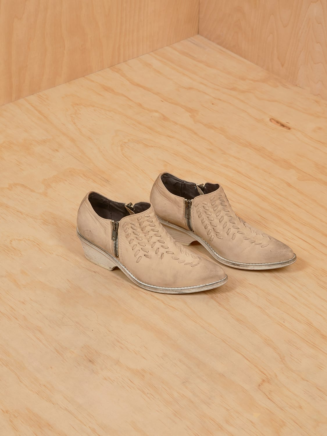 Free People Beige Zip Booties