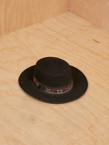Black Suede Hat with Ribbon Detail