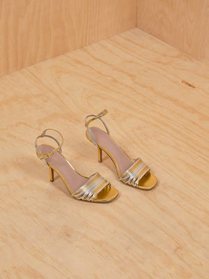 DVF Mettallic gold and silver heeled sandals