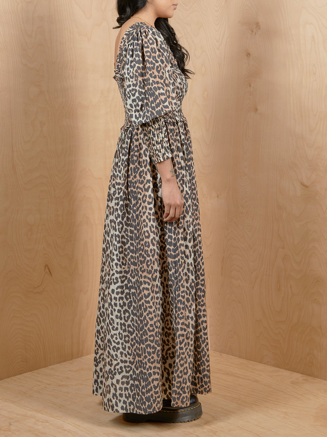GANNI Leopard Smocked Dress