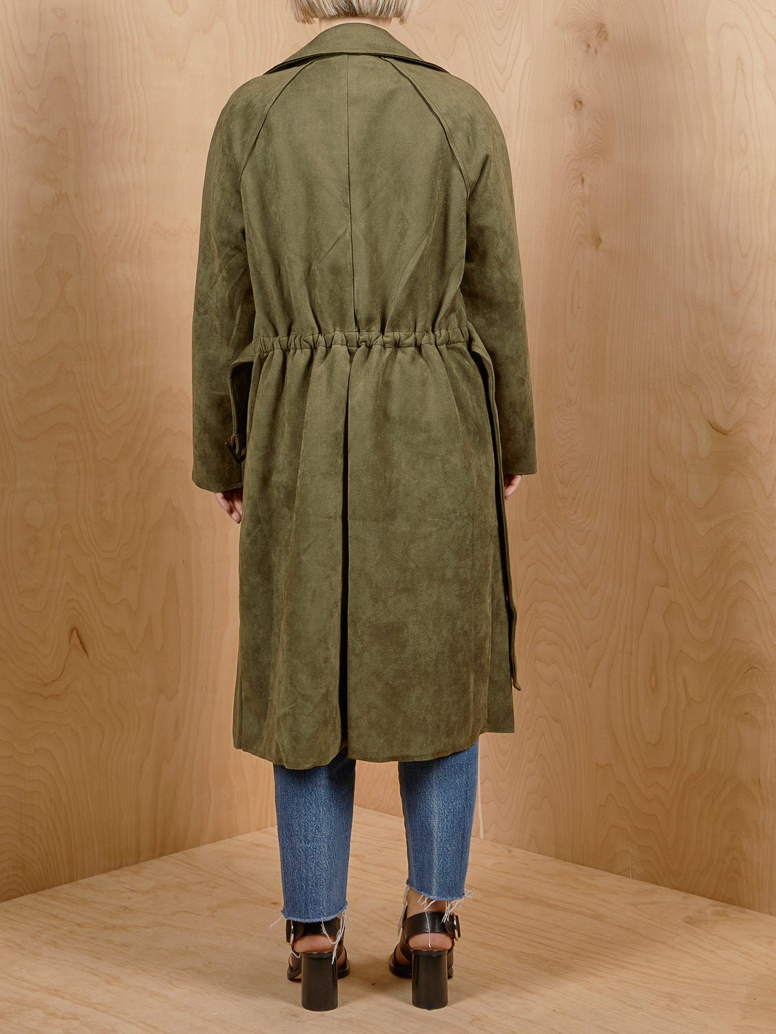 FAVLUX Green Faux Suede Trench Coat