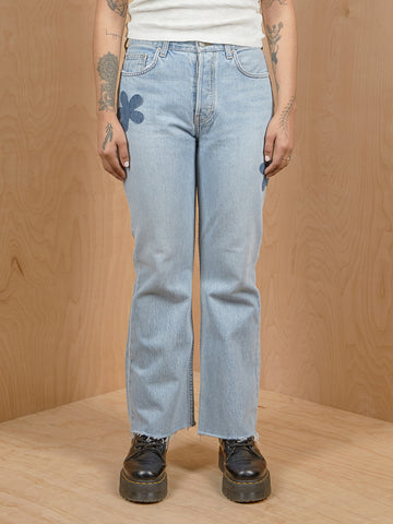 Reformation Light Washed Jeans with Flower Patches