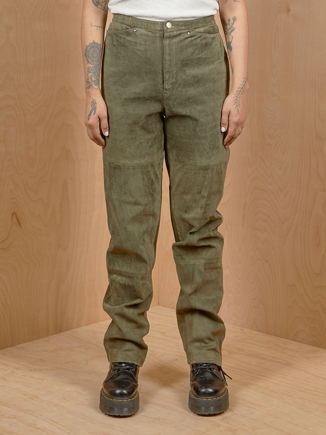 Vintage Dark Green Suede Pants