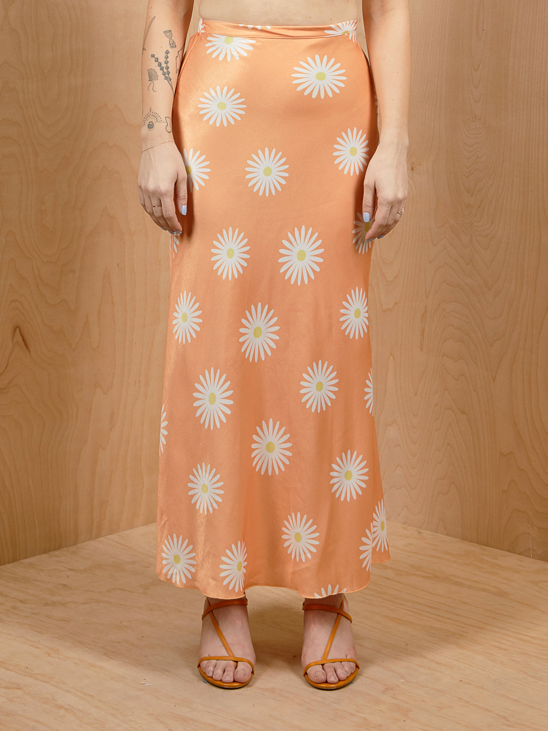 Free People Orange Flower Slip Skirt