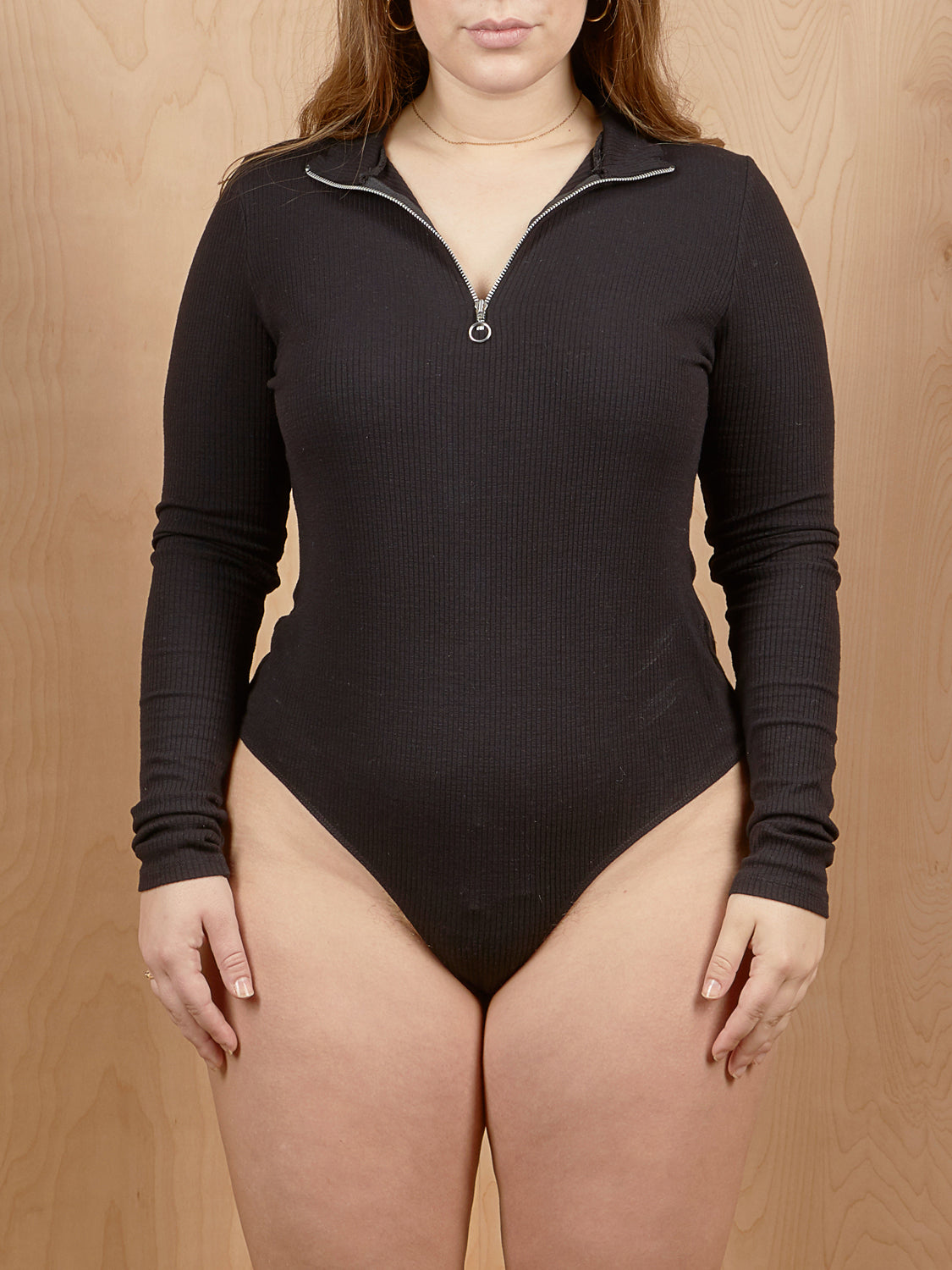 Collusion Ribbed Zip Up Bodysuit