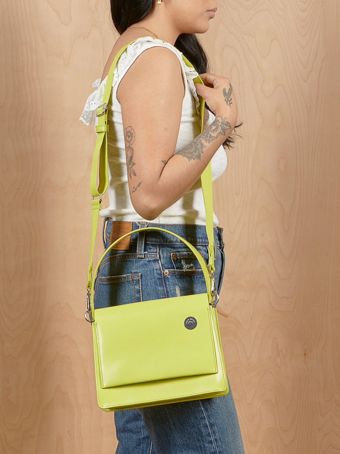 Lime Kara Portfolio Purse with Detachable Strap