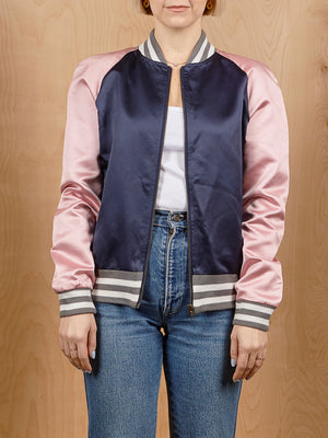Understated Leather Colorblocked Silk Bomber Jacket