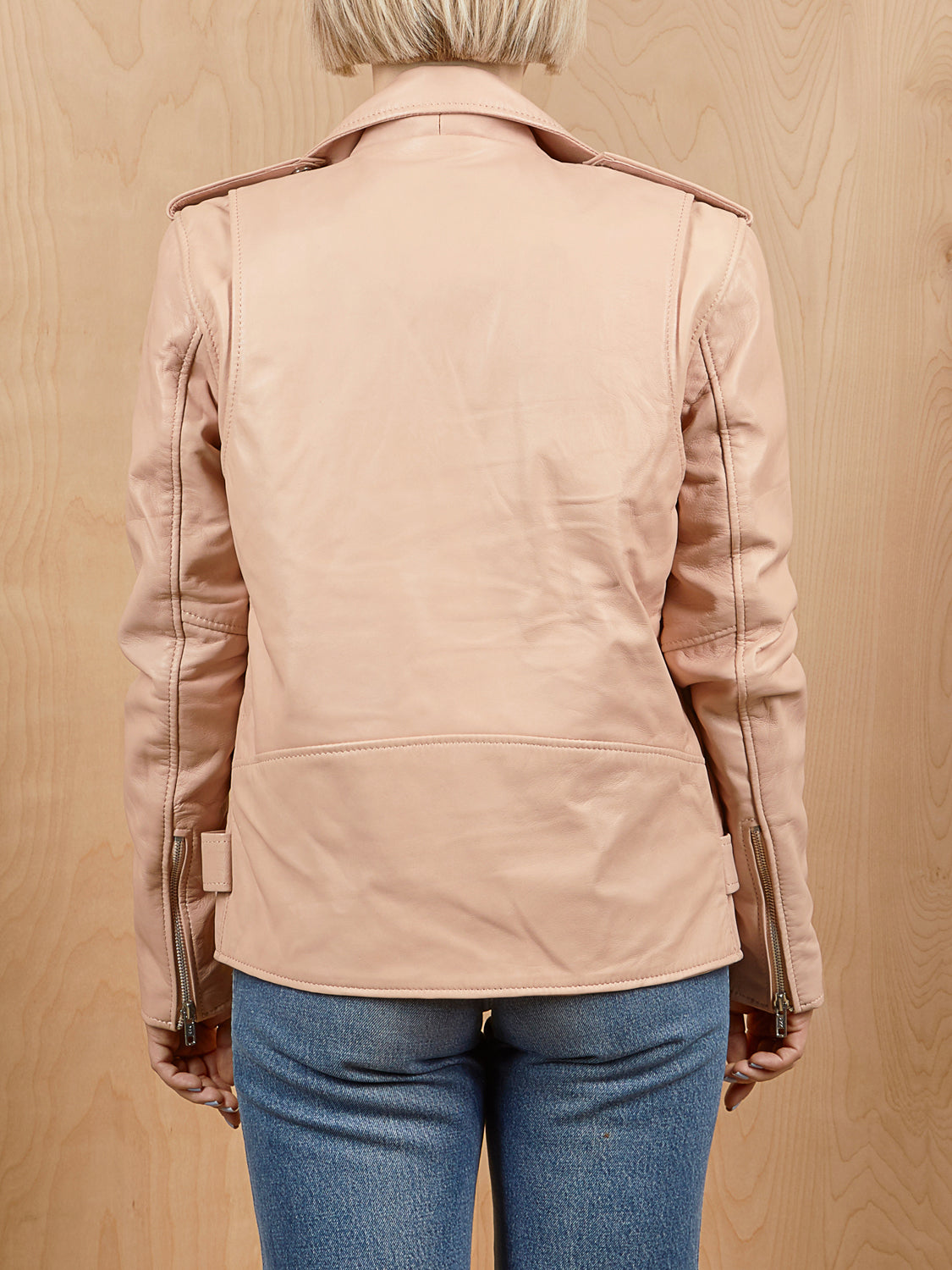 Understated Leather Soft Pink Moto Jacket