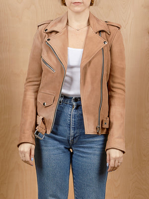 Understated Leather Brown Suede Moto Jacket