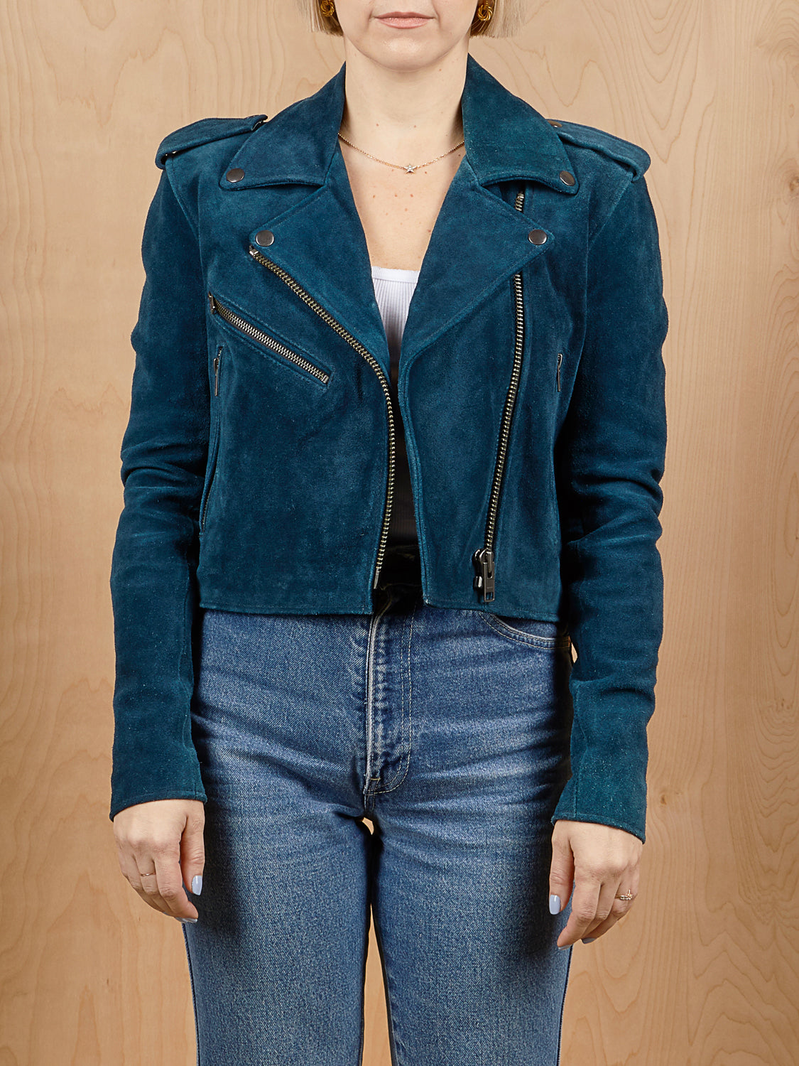 Understated Leather Navy Suede Moto Jacket