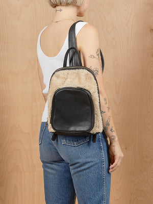 Black and Fur Mini Backpack