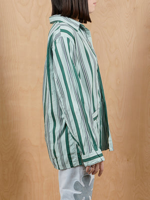 Vintage Blue and Green Striped Top