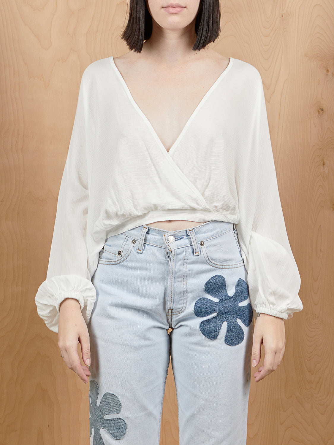 AUDREY 3+1 White Gauze Balloon Sleeve Crop Top
