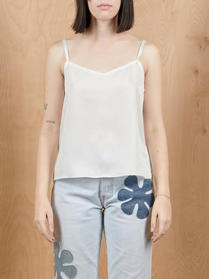 White Silk Tank Top