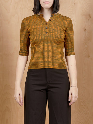 Vintage Brown + Orange Marl Ribbed Knit Top