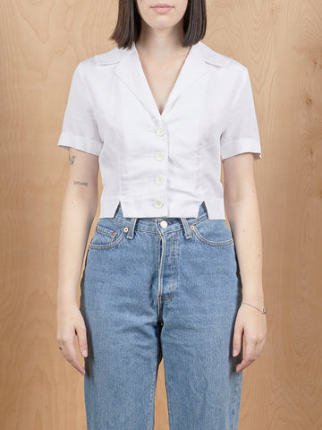 Side Party White Button Up Top