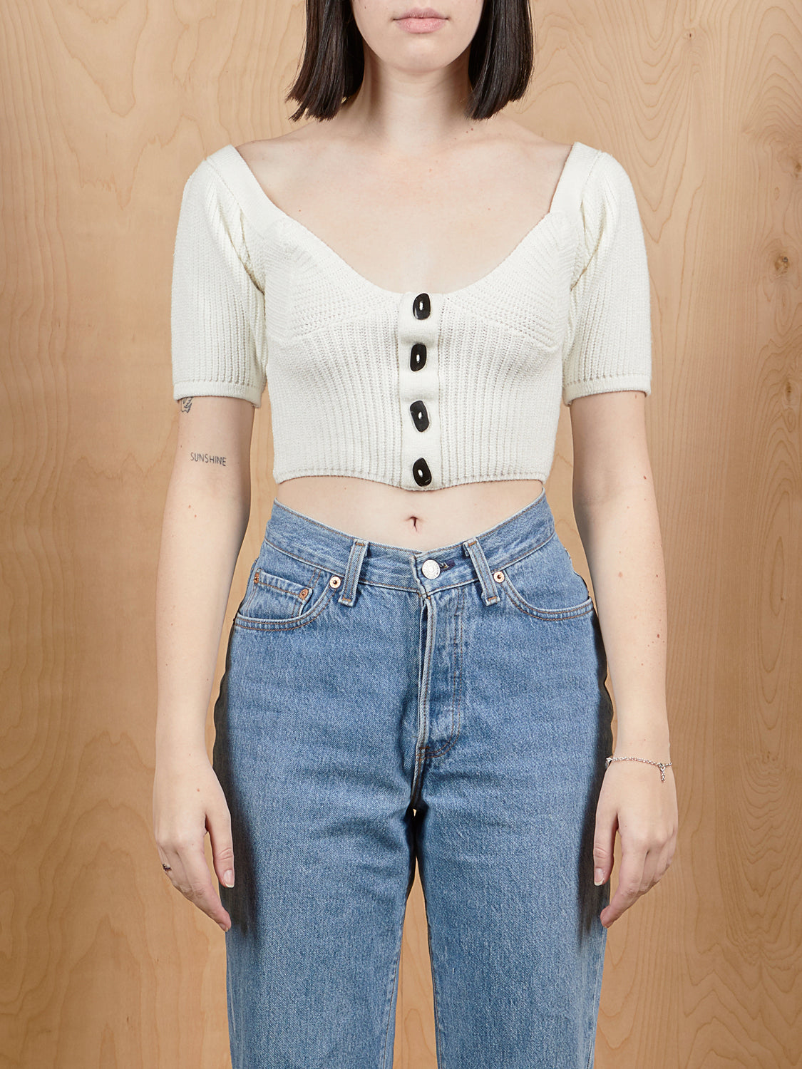Tach Clothing White Knit Crop Top