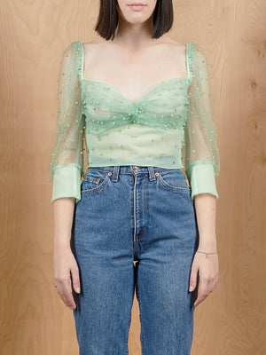 Tach Clothing Mint Beaded Crop Top