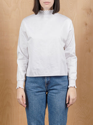 Outstanding Ordinary White Rouched Neck Peasant Top