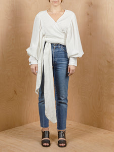 The Line By K White Guaze Wrap Top