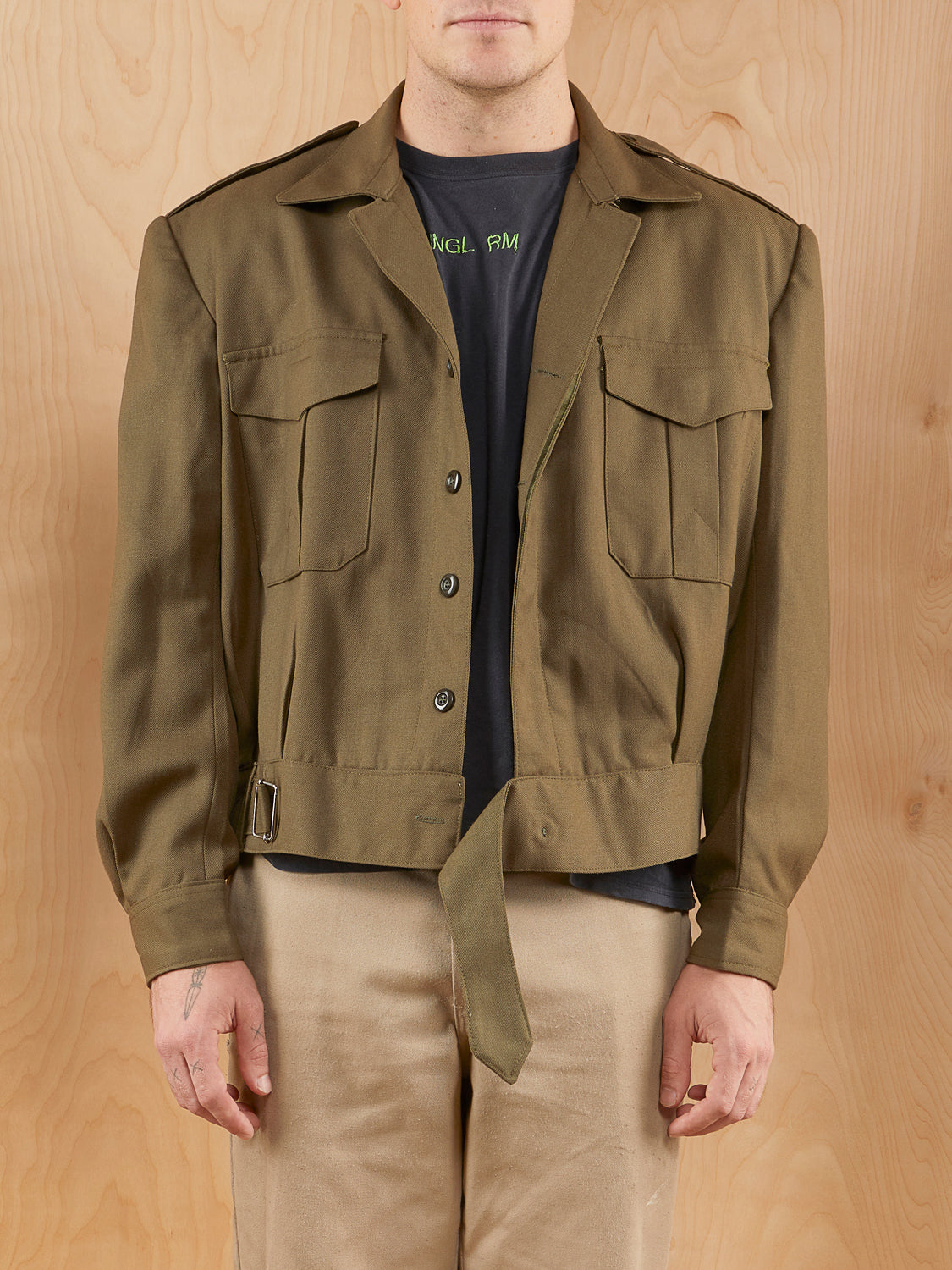 Military Style Jacket with Shoulder Pads