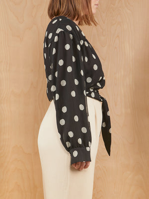 Nanushka Polka Dot Blouse with Tie