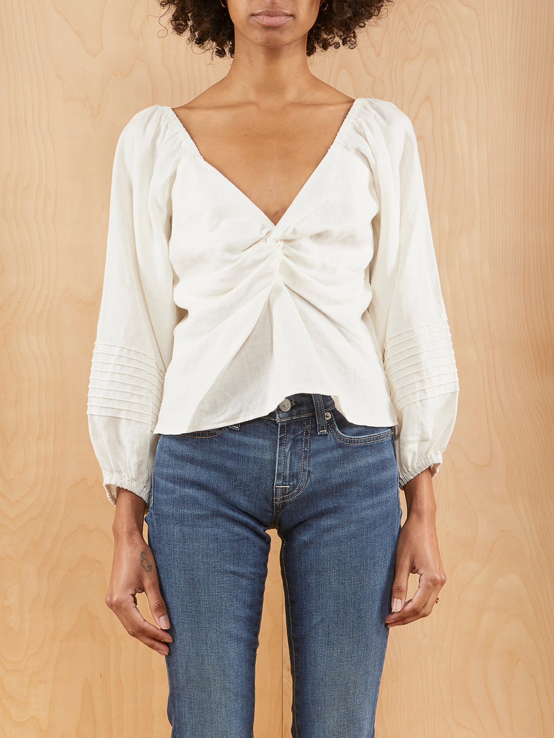 Suboo White Peasant Crop Top