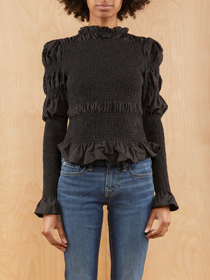 & Other Stories Black Rouched Blouse