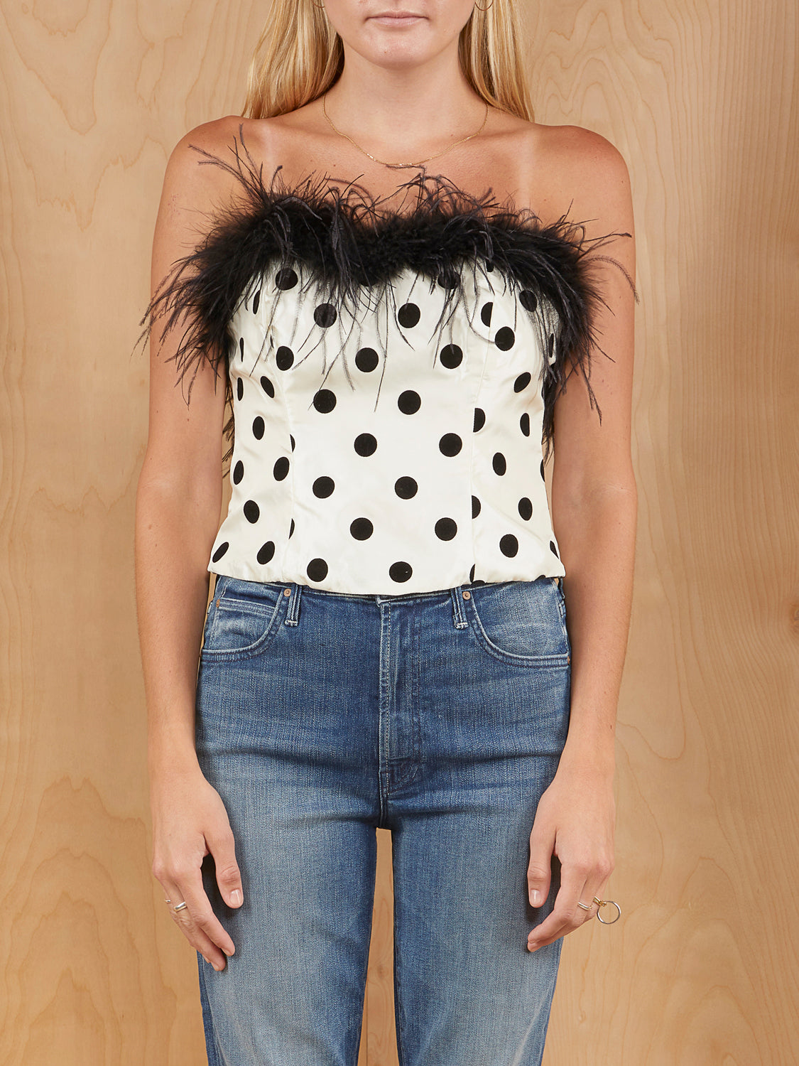 LPA Polka Dot Bustier with Feather Trim