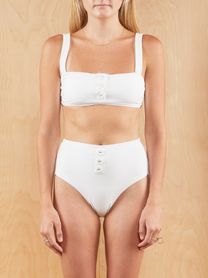 Onia White High Waisted Bikini with buttons