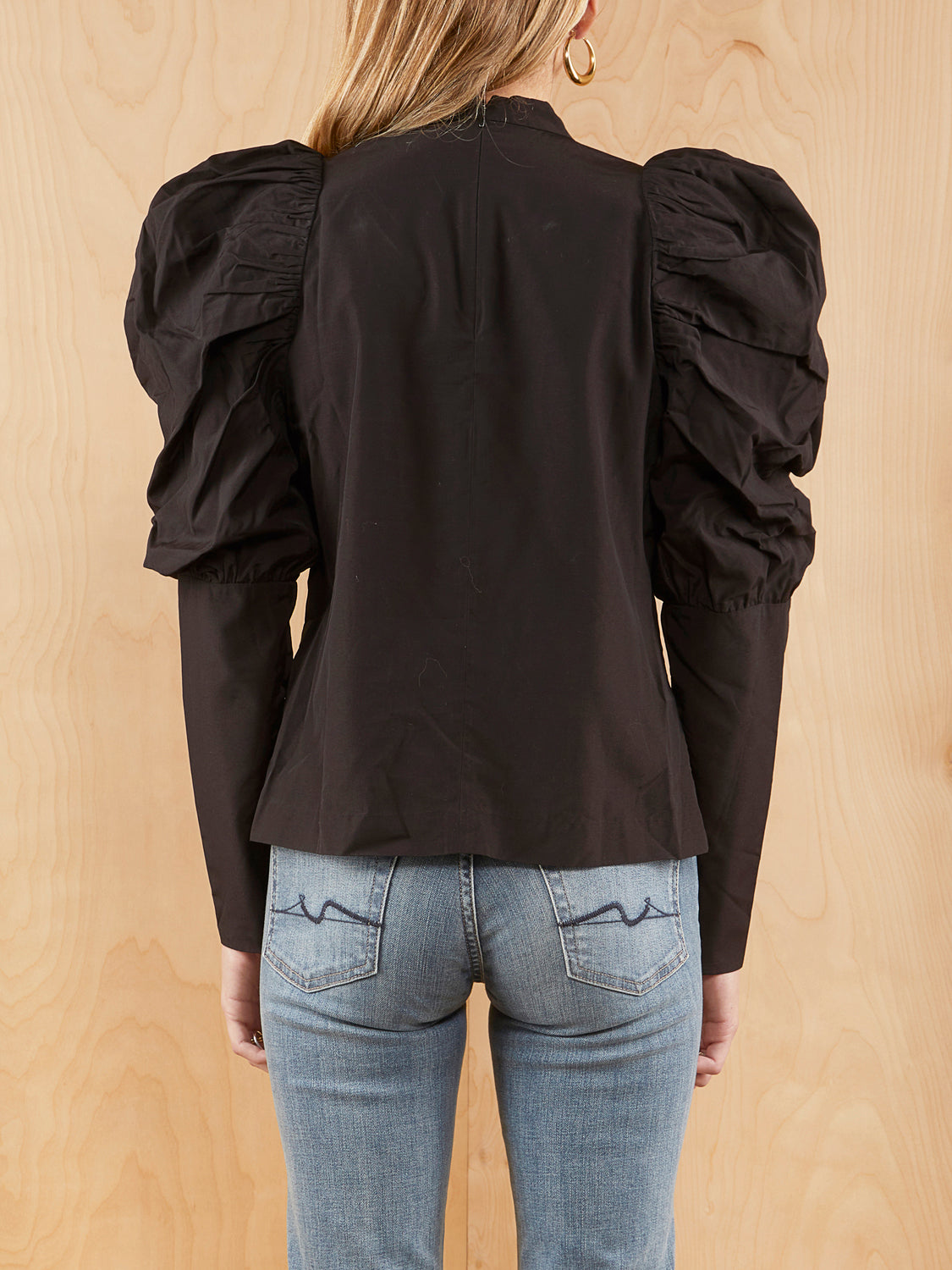 & Other Stories Black Puff Sleeve Blouse