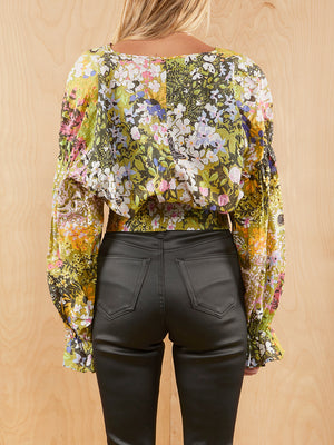 & Other Stories Long Sleeve Floral Crop