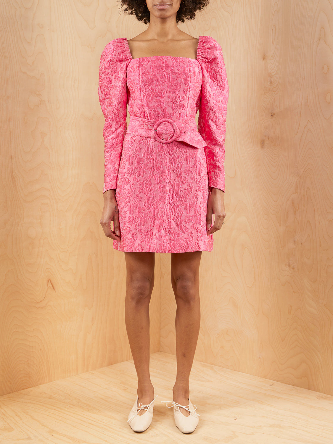 & Other Stories Pink Crinkle Mini Dress with Belt