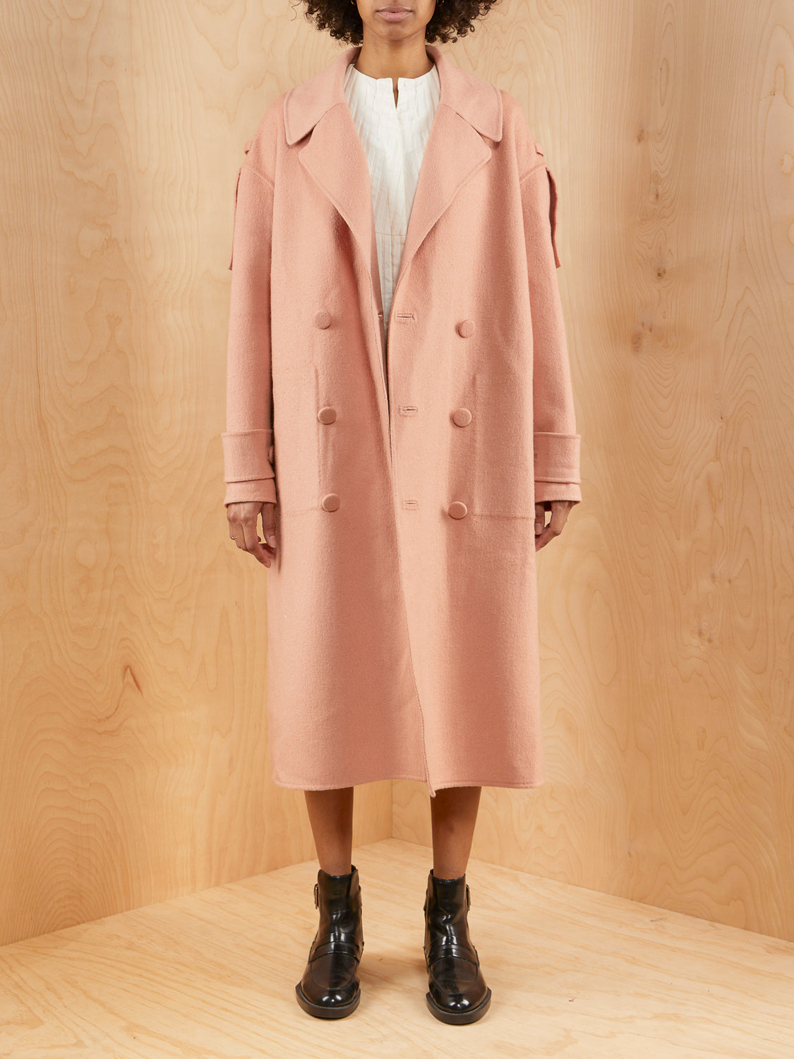 Tibi Mauve Double Breasted Wool Coat