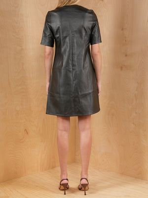 Oak + Fort Faux Leather Mini Dress