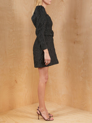 & Other Stories Black Crinkle Mini Dress with Belt