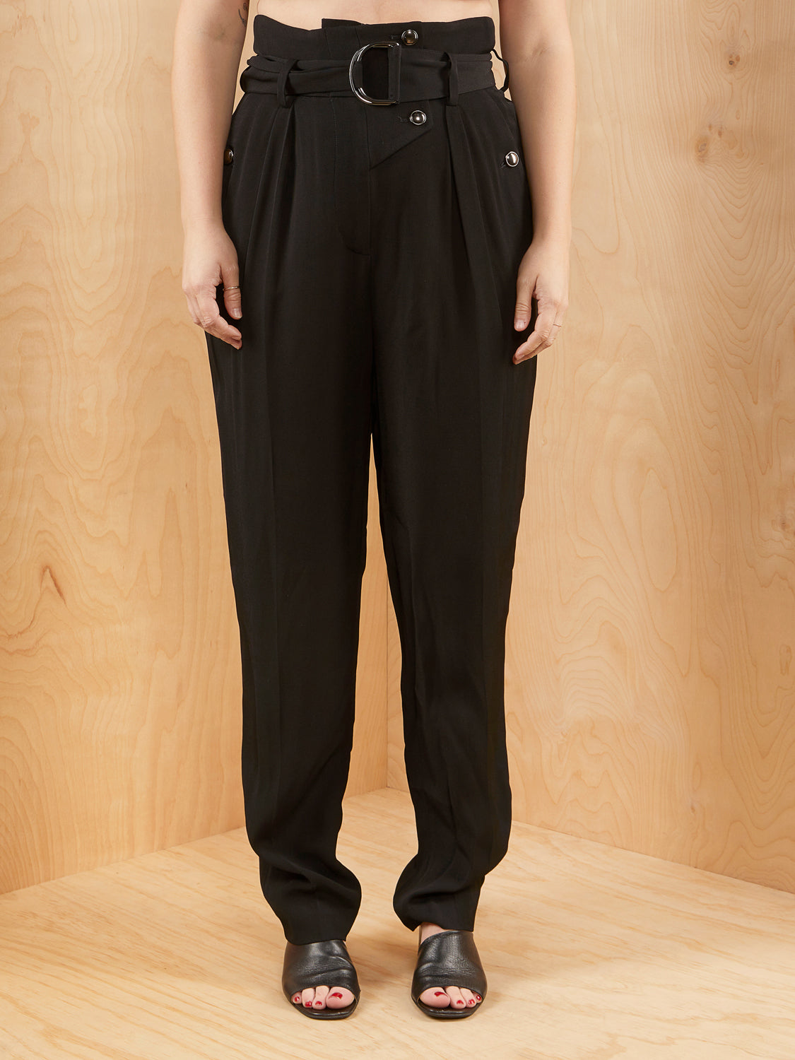 IRO Black Tapered Trousers with Belt