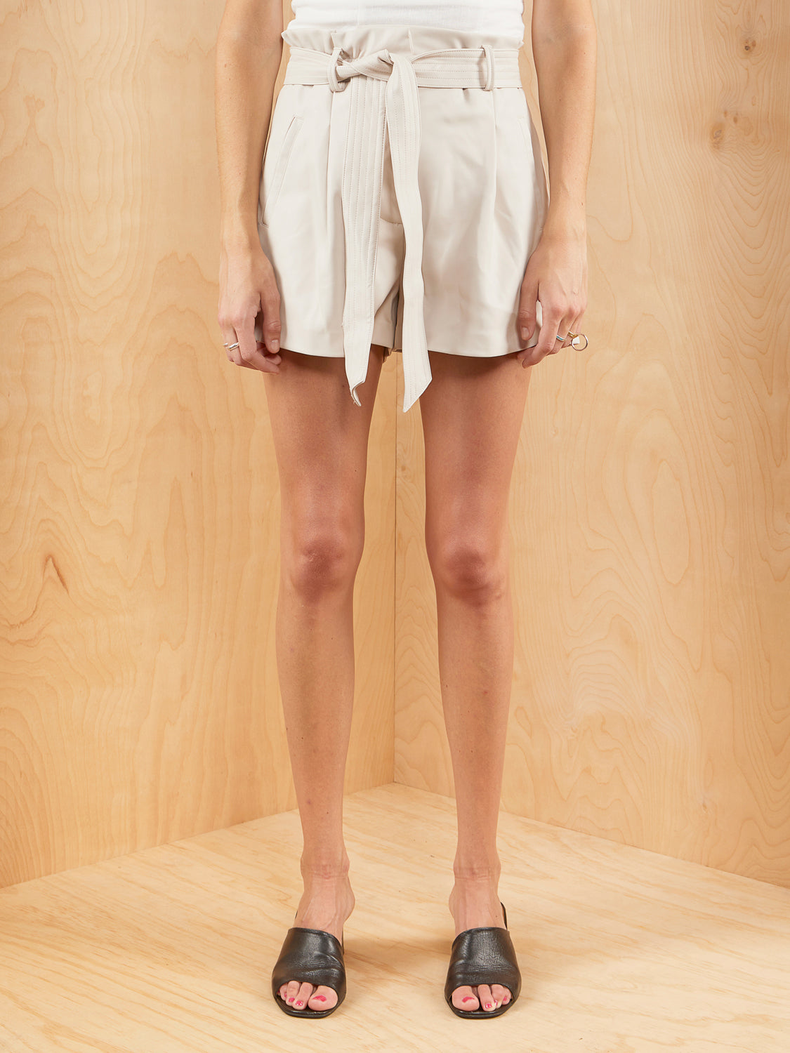 NA-KD Faux Leather Belted Shorts