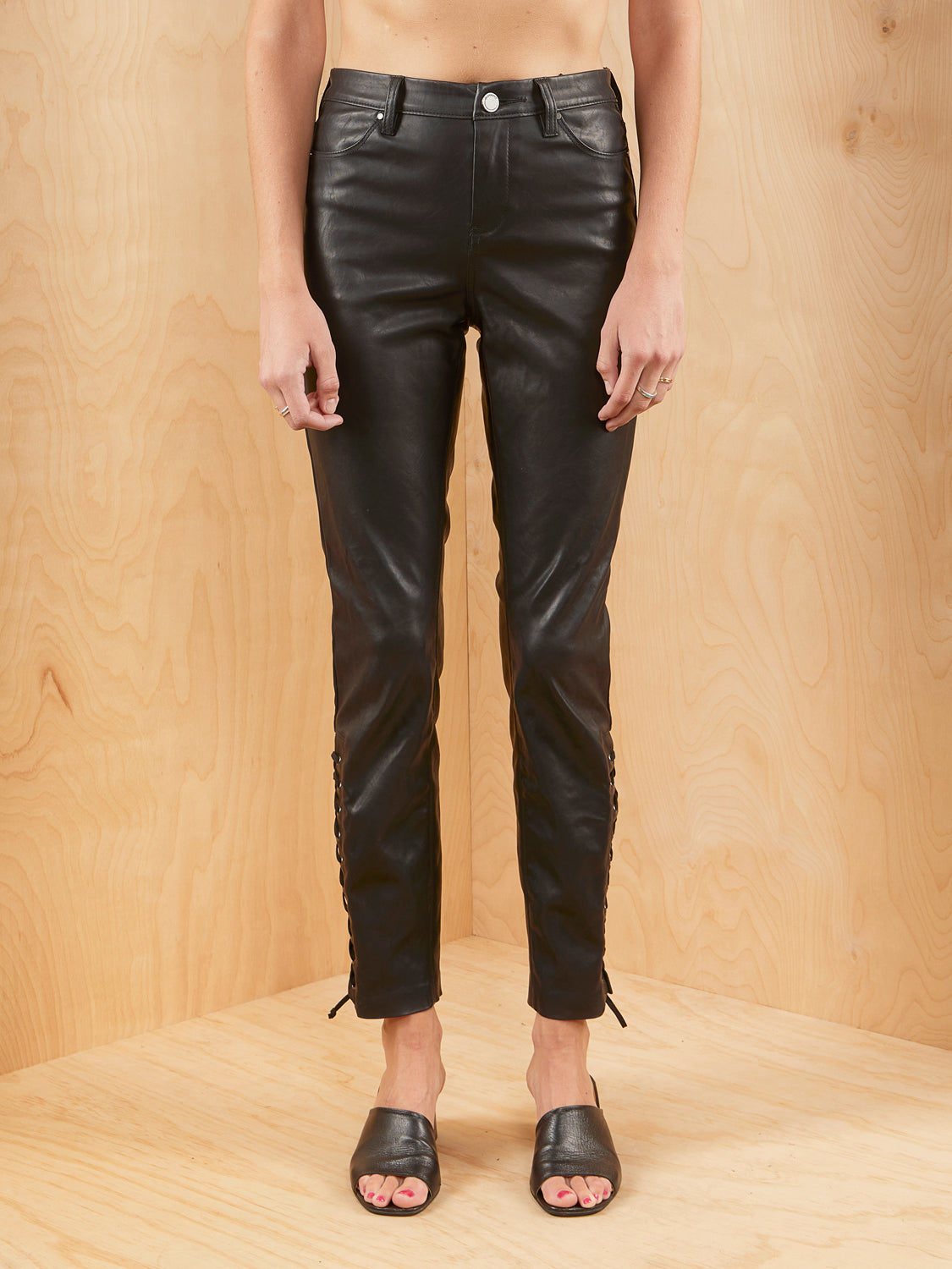 [BLANKNYC] Faux Leather Skinny Jeans with Ankle Detail