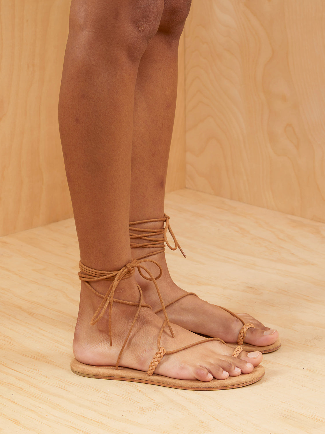 Doen Lace Up Leather Strap Sandals