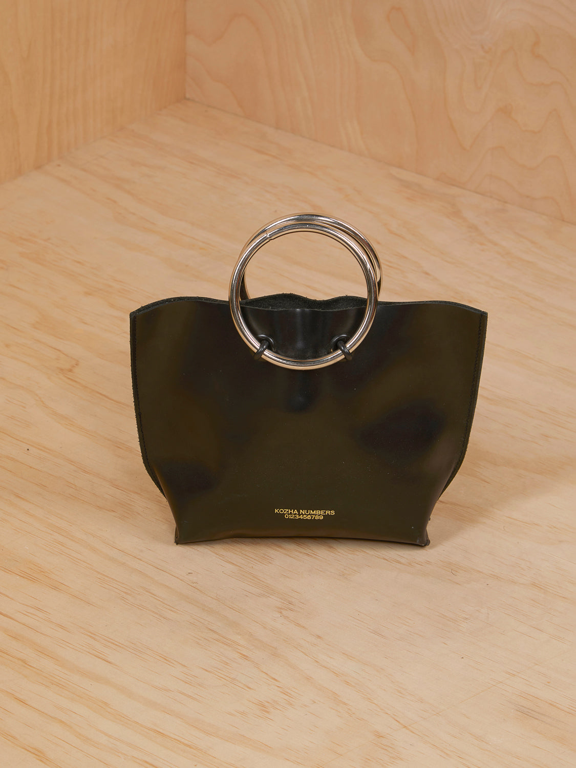 Kozha Numbers Black Leather Purse with Silver Ring Handle