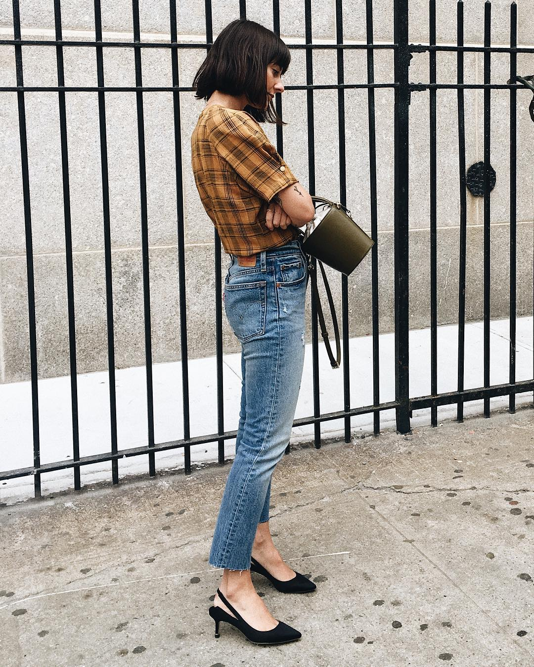 Good Elegance Emil Mustard Plaid Top