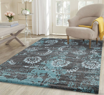 Luxury Silk Distressed Florals Ashy Blue Rug - Buyrug - Online Rug Buy Store